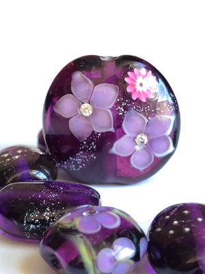Violet purple lampwork glass bead necklace with pink flowers and cubic zorconia