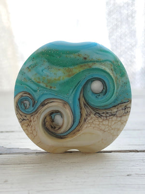 Turquoise and ivory lampwork bead