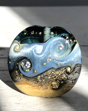 Grey Focal Lampwork Bead with cubic zirconia