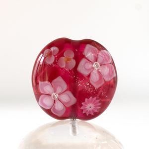 Pink floral lampwork bead with cubic zirconia