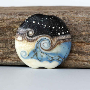 Blue Lampwork Lentil Bead by Judith Johnston