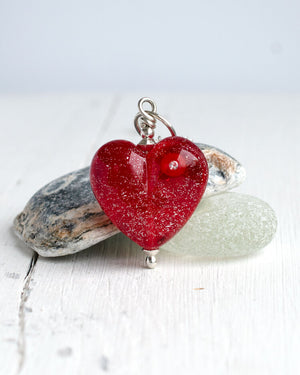Super sparkly red glass heart necklace
