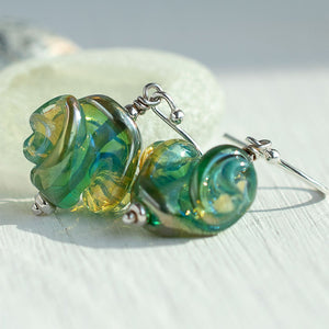 Seafoam Green Artisan Lampwork Glass Earrings