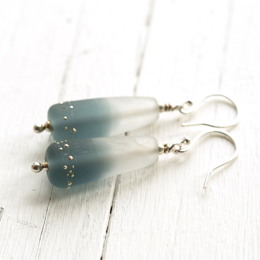 Grey Duet sterling silver and glass earrings