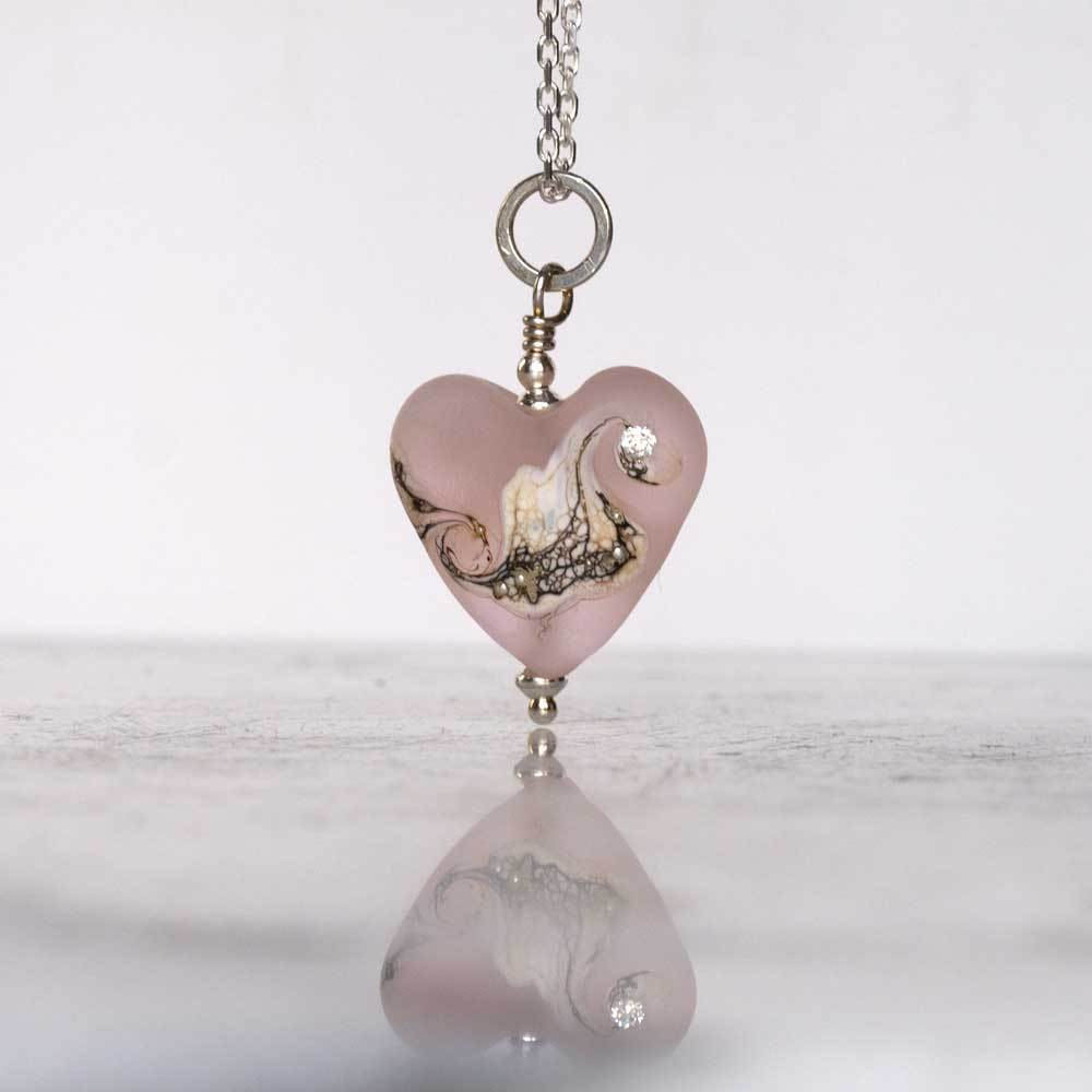pink lampwork glass heart necklace