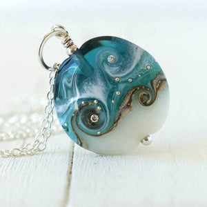 teal Circe necklace handmade by Judith Johnston