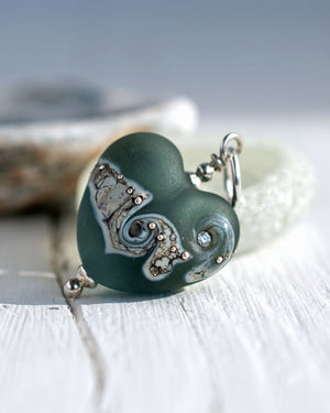 grey glass love heart necklace
