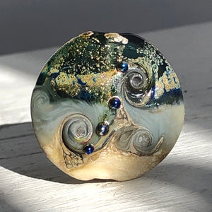 Grey art glass lampwork bead