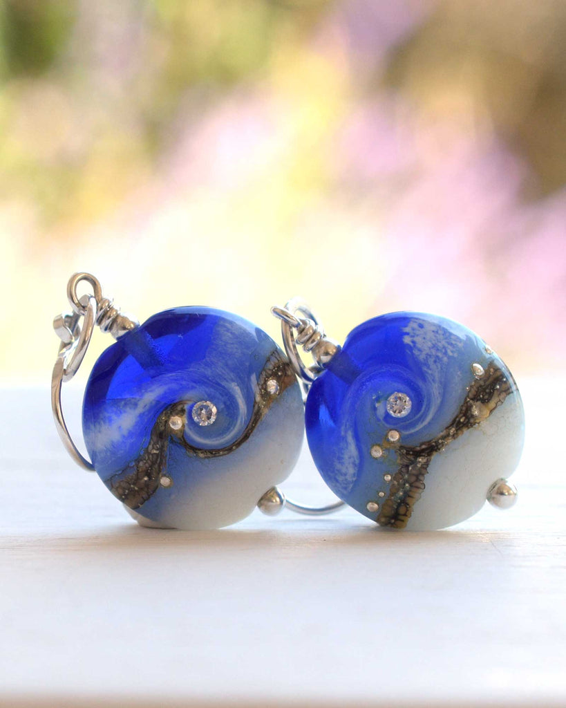 Blue Glass Handmade Earrings