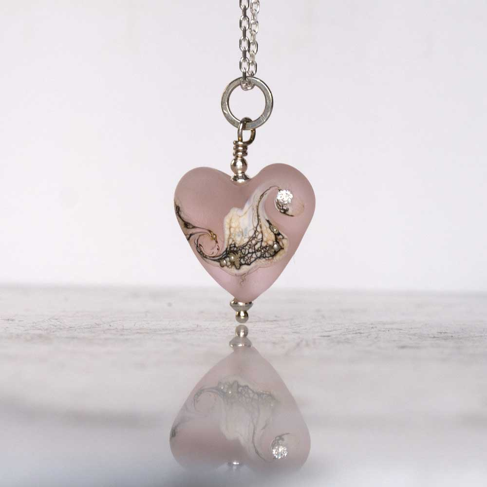 Pink heart glass pendant
