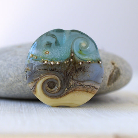 Eau de nil art glass lampwork bead