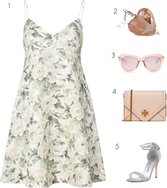 romantic summer date night outfit, floral dress with blush pink necklace