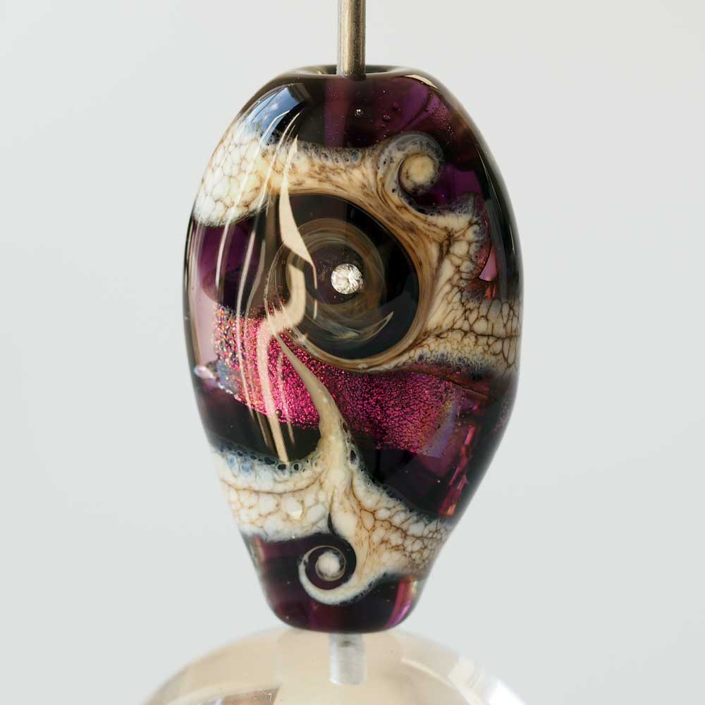 Amethyst focal lampwork glass bead with dichroic glass and cubic zirconia