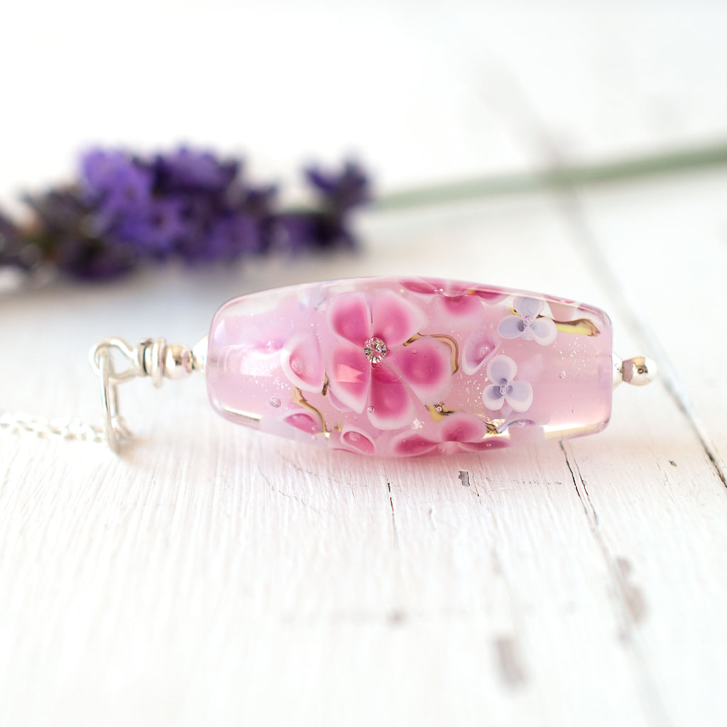 pink floral lampwork glass bead necklace