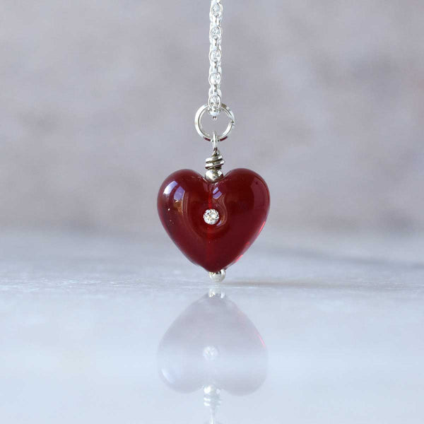 red glass heart penant