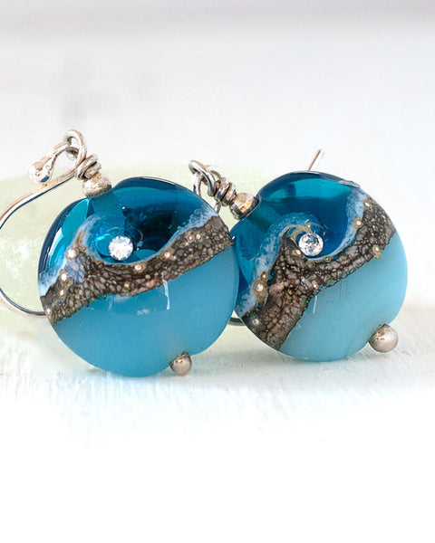 turquoise glass drop earrings