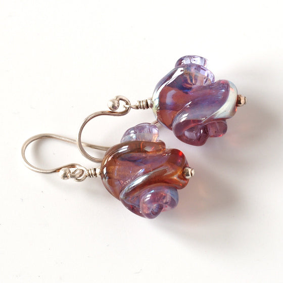 purple lampwork bead earrings