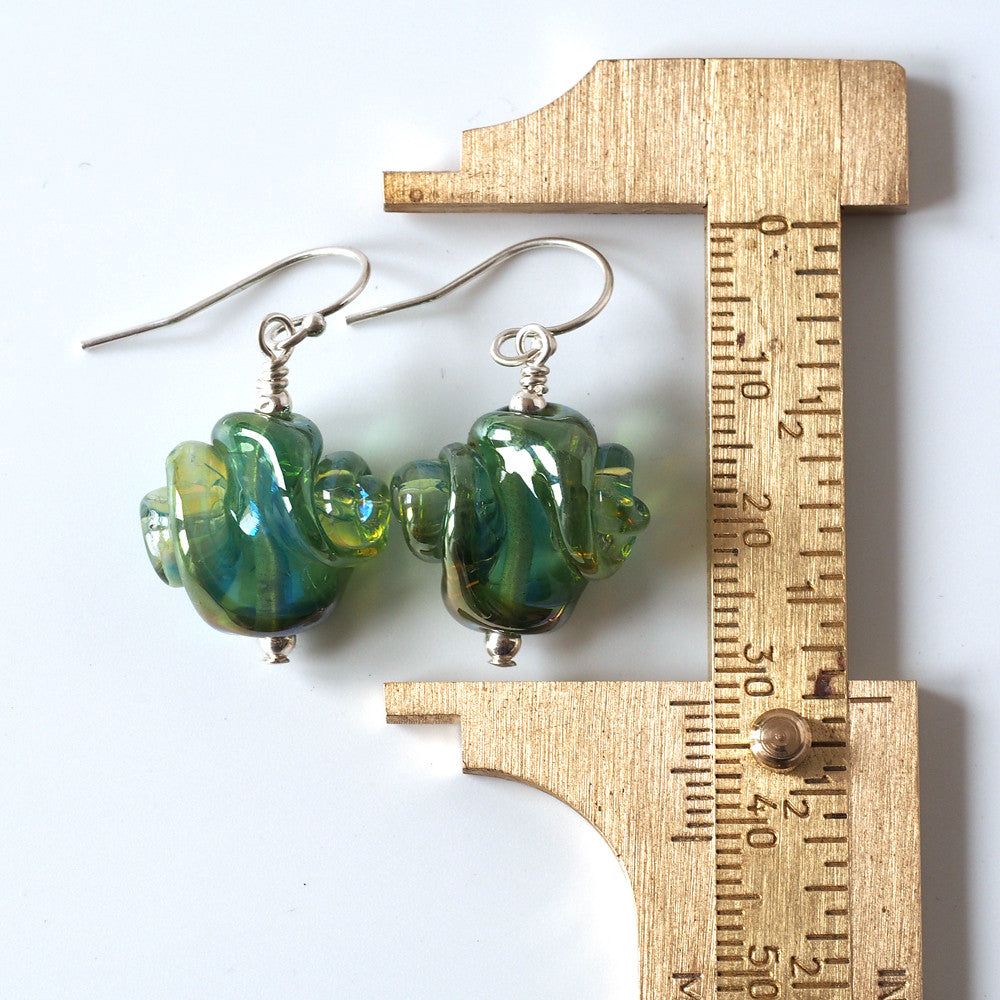 Seafoam artisan glass earrings measured