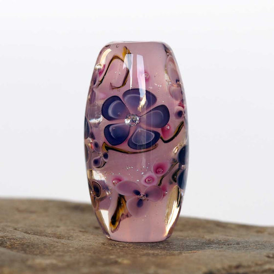 Pink floral lampwork art glass bead with cubic zirconia