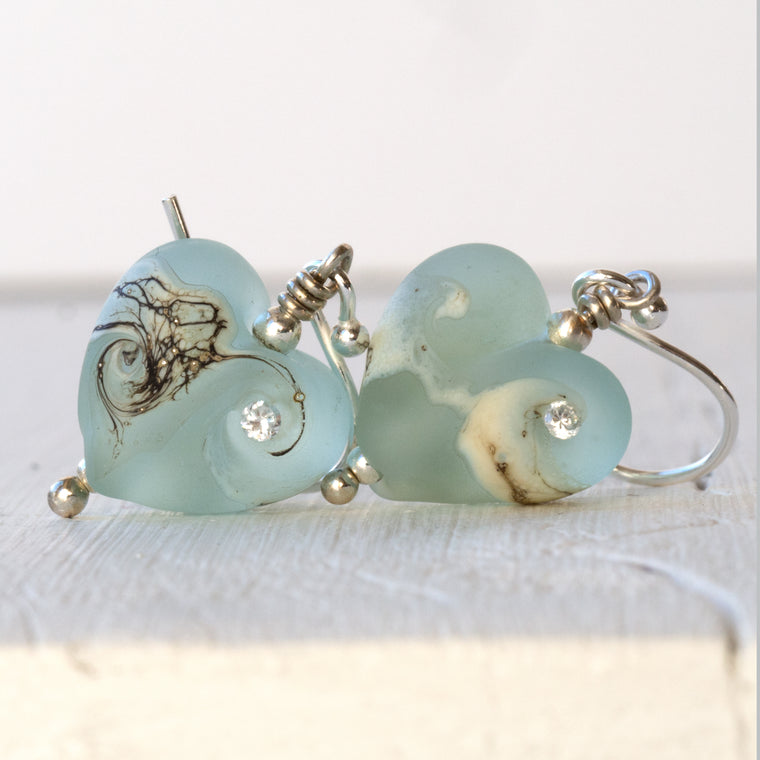 aqua lampwork glass heart earrings
