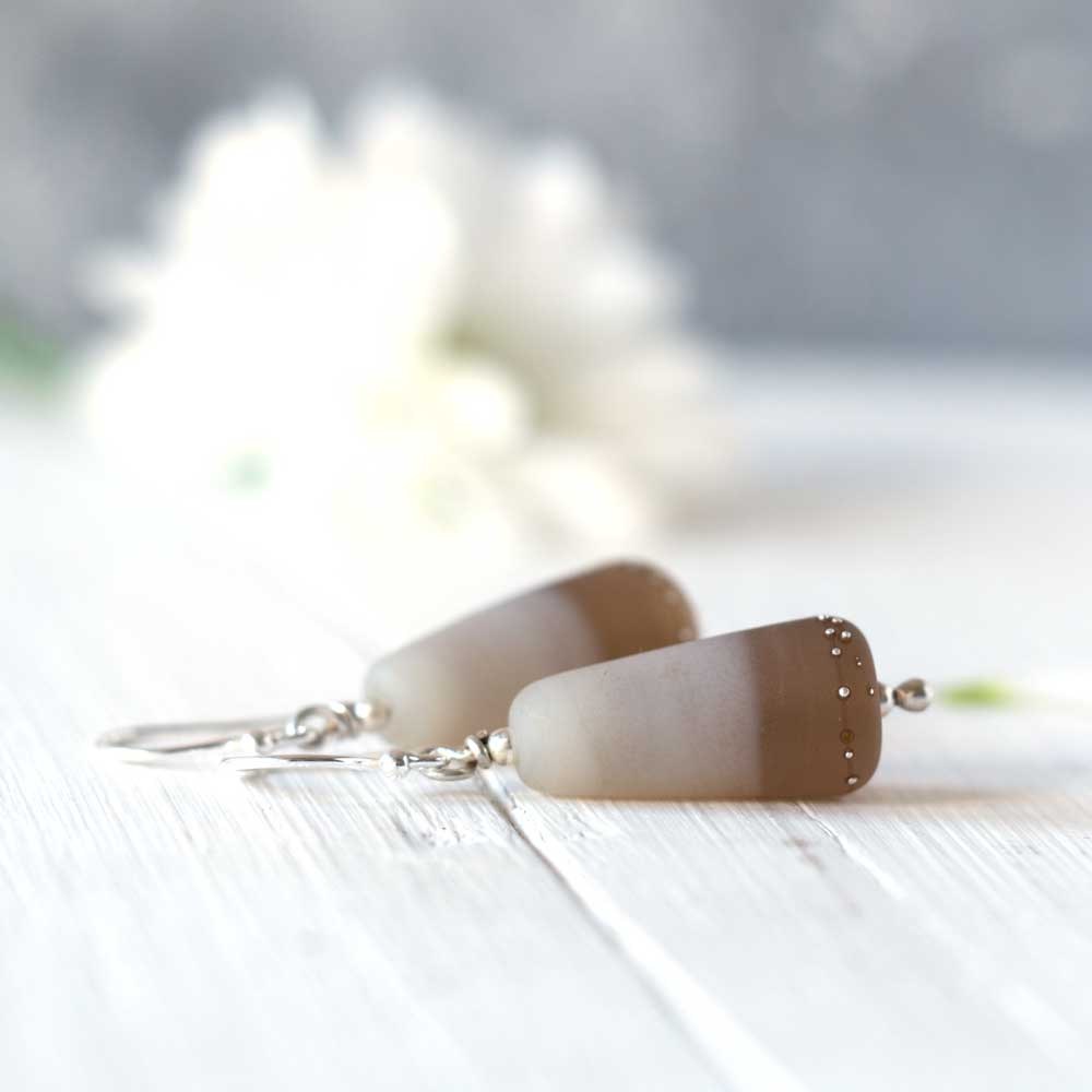 Sepia Duet handmade glass earrings