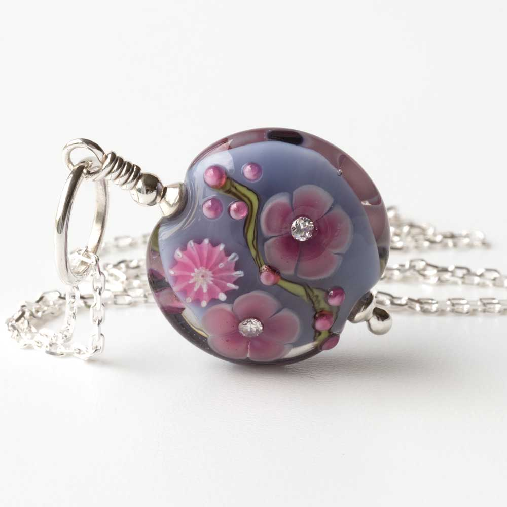 Grey floral lampwork art glass bead with cubic zirconia