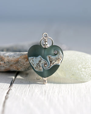 Grey frosted lampwork glass heart necklace