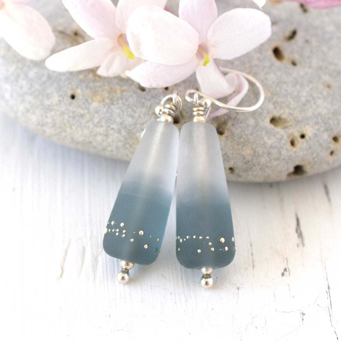 grey lampwork earrings