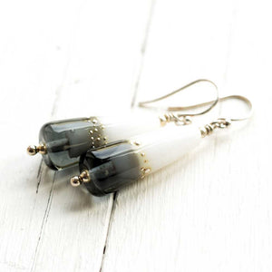 Duet Earrings in Grey and White