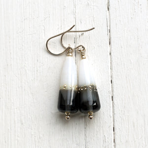 Grey White Glass Bead Earrings by Judith Johnston
