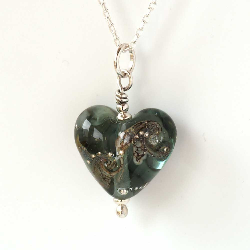 Grey Glass Heart Necklace