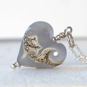 Artisan grey glass heart necklace by Judith Johnston