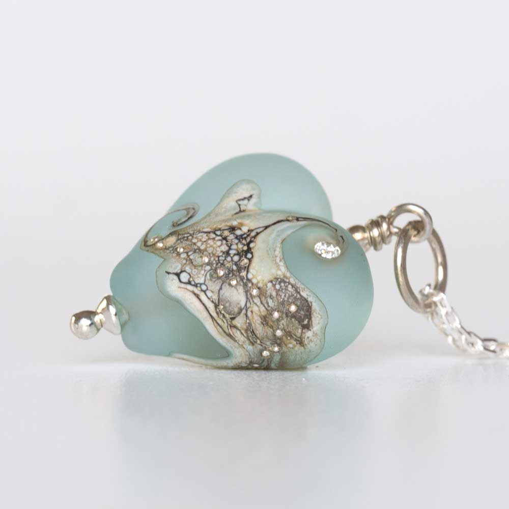 Heart pendant aquamarine blue judith johnston art glass jewellery aqua lampwork heart pendant aloadofball Gallery