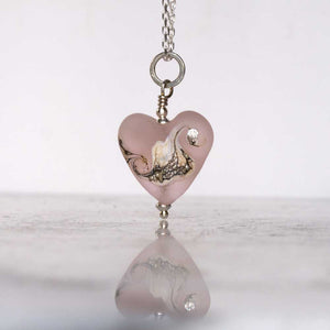 Rose pink art glass heart bead necklace by Judith Johnston
