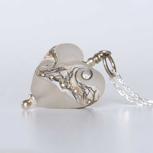 white lampwork glass heart necklace