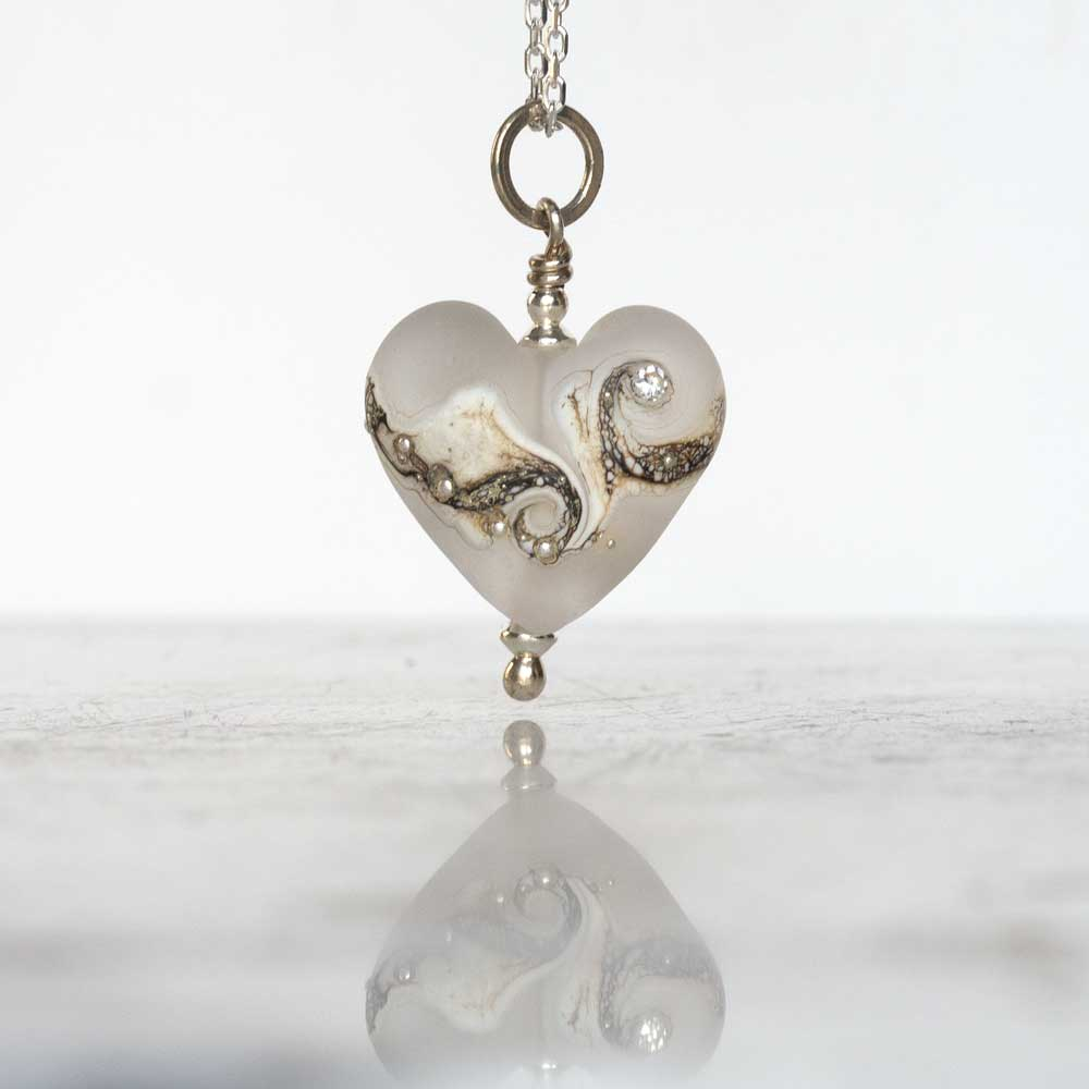 Bridesmaids white heart necklace