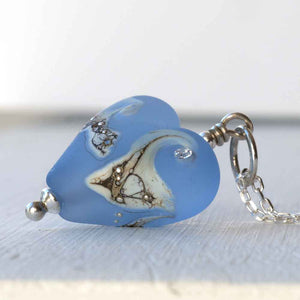 Sapphire blue lampwork glass heart necklace by Judith Johnston