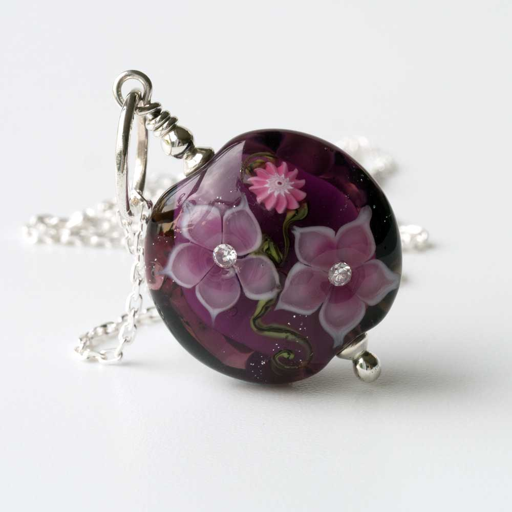 Amethyst Lampwork Glass Floral Pendant front