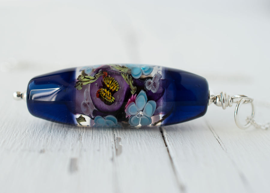 Art Glass Lampwork Butterfly Necklace