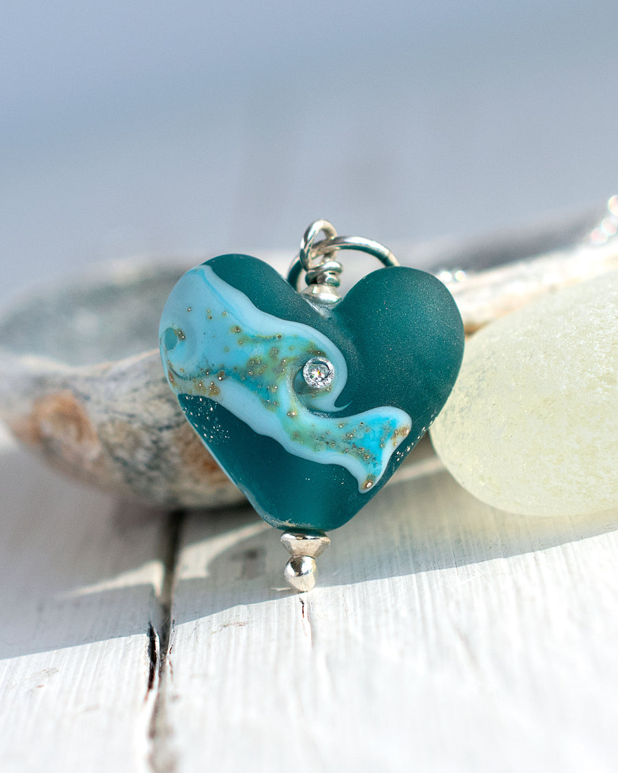Teal green, frosted glass love heart pendant