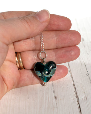 Teal Glass Heart Necklace with cz and fine silver