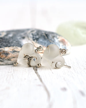 Frosted white small glass heart earrings with cubic zirconia by Judith Johnston