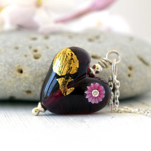 Love Heart in Amethyst and Gold