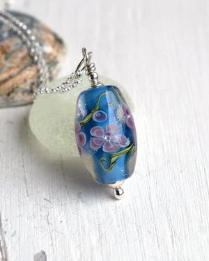 Blue floral art glass bead necklace with cubic zirconia view 3