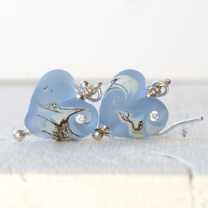 blue glass heart earrings