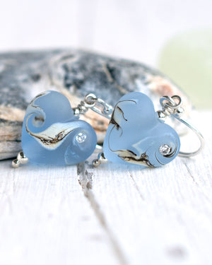 Small sapphire blue lampwork glass heart earrings by Judith Johnston