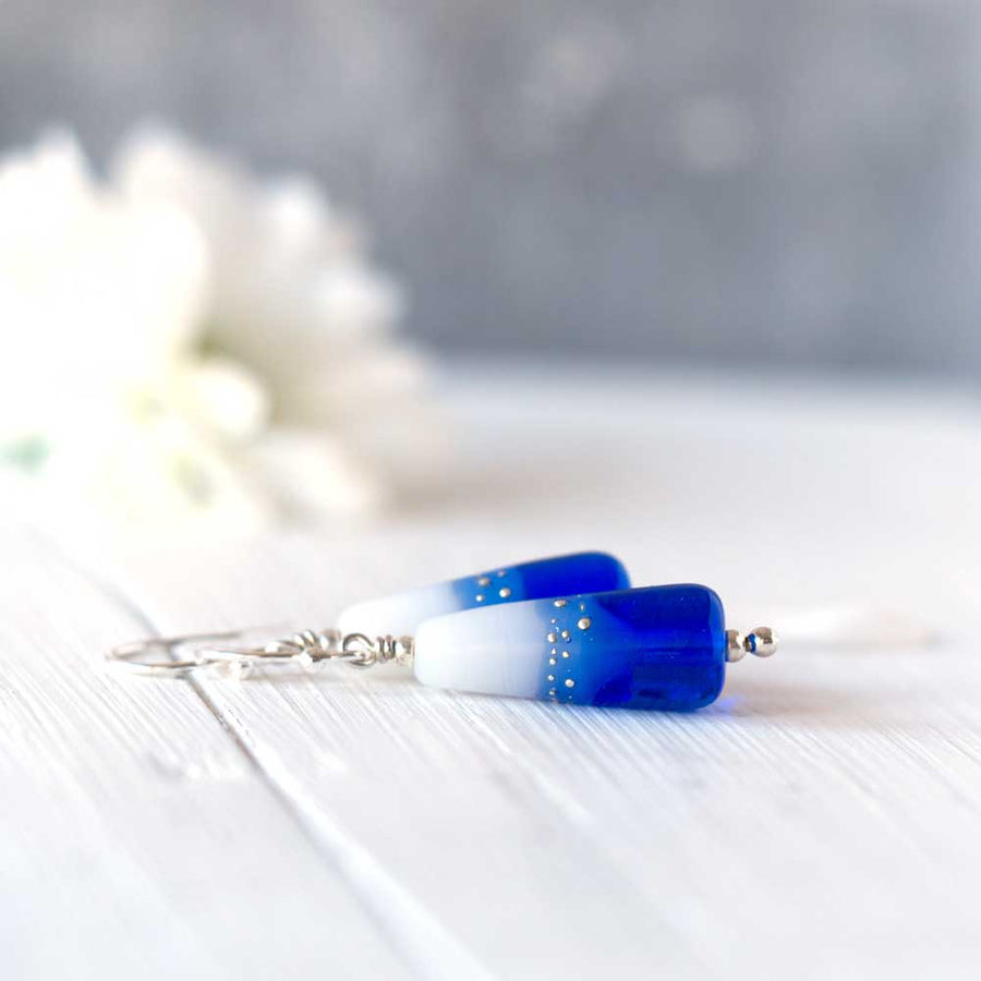 Royal Blue & White lampwork glass drop earrings