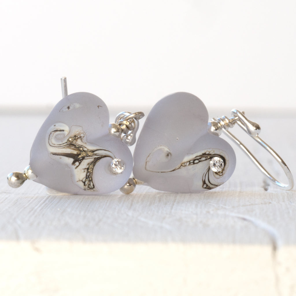 Heart Earrings - Moonlight Grey