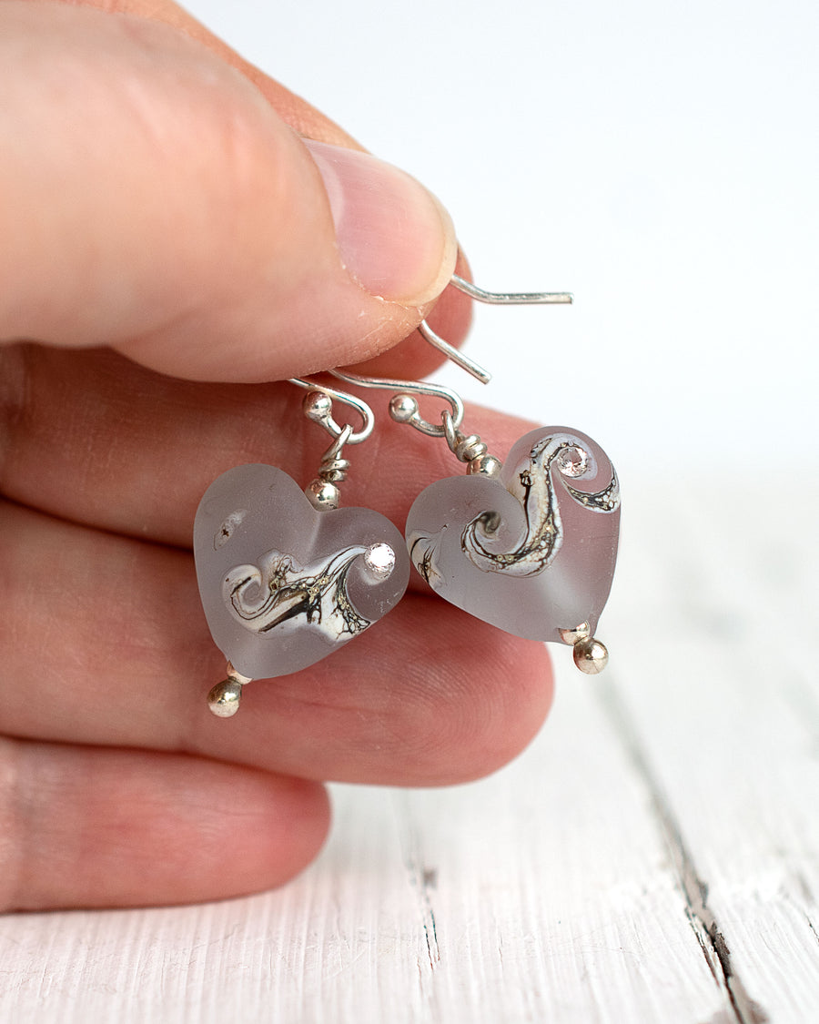 Small grey glass heart earrings with cubic zirconia by Judith Johnston