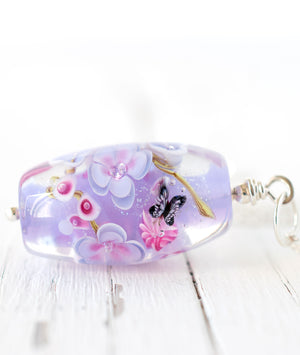 Art Glass Lampwork Bead necklace with butterfly